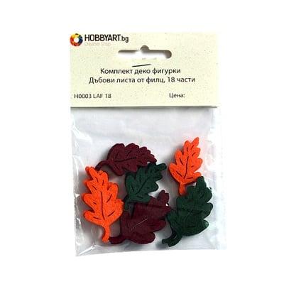 Комплект деко фигурки Дъбови листа от филц, 40mm, 18 части