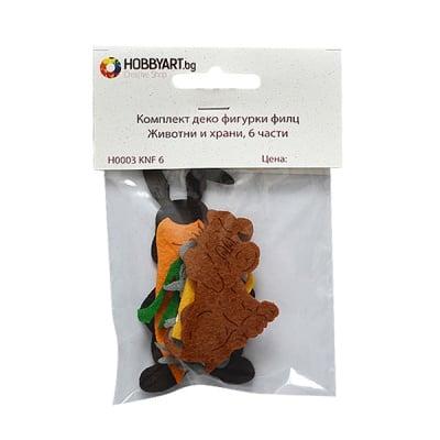 Комплект деко фигурки от филц Животни и храни, 6 части