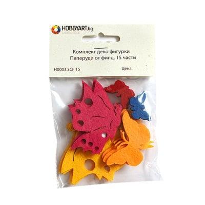 Комплект деко фигурки Пеперуди от филц, 40mm, 15 части
