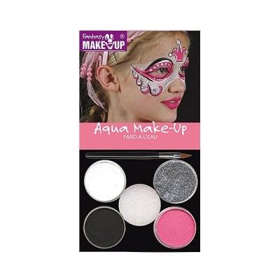 Комплект гримове в кутия Aqua Make Up, 5 цвята + 1 четка, принцеса Леа