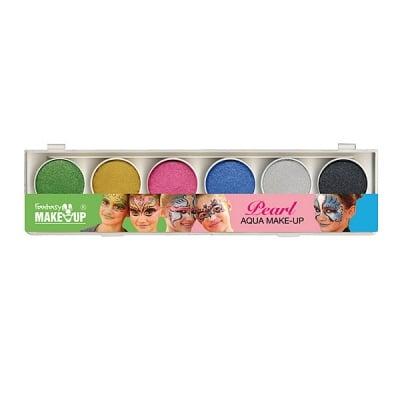 Комплект гримове в кутия Aqua Make Up Perlglanz, 6 цвята + 2 четки