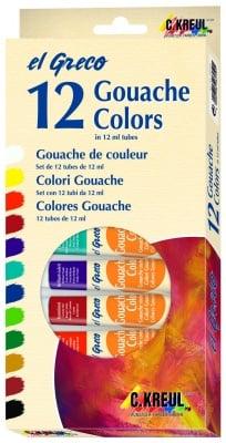 Комплект гваш бои elGreco, 12 ml, 12 цвята