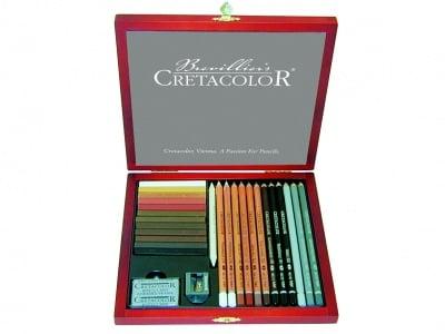Комплект художествен CretaColor, CREATIVO, дървена кутия