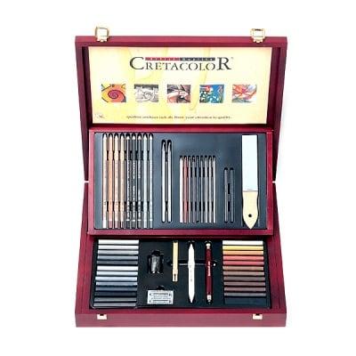 Комплект художествен CretaColor от 53 части, SELECTION, дървена кутия