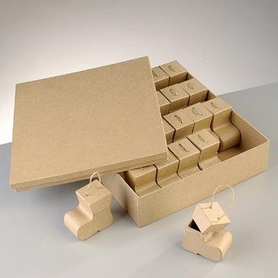 Комплект кутии от папие маше, ботушчета, 27,5 x 23 x 7,5 / 6 x 6 x 3,5 cm, 25 бр.