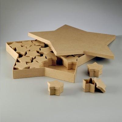 Комплект кутии звезди, 39 x3 9 x 4 cm / 6 x 6 x 4 cm, 25 бр.