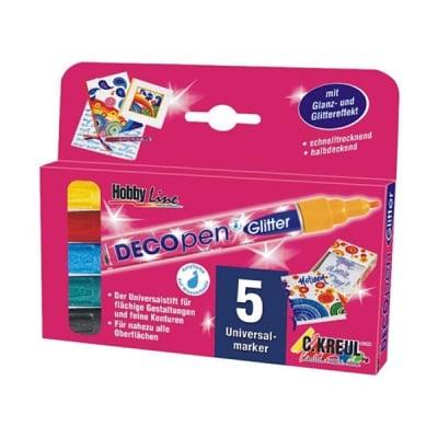 Комплект маркер DECOpen Glitter, 1-3 mm, HOBBY Line, 5 бр.