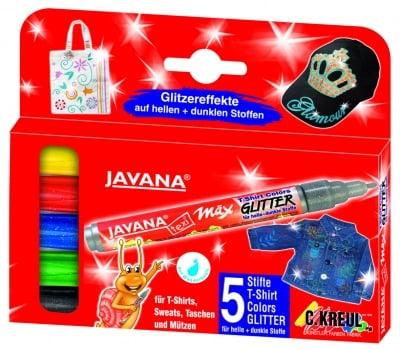 Комплект маркер текстилен texi max GLITTER JAVANA, 5бр.