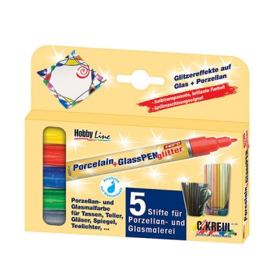 Комплект маркери Porcelain+GlassPen Glitter, 5 бр.