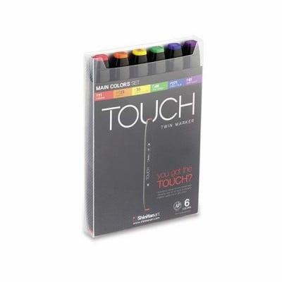 Комплект маркери TOUCH TWIN, 6 бр., основни цветове