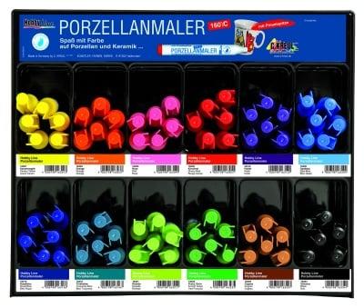Комплект маркери за порцелан 180'C, връх-четка 1-3 mm, 12 цв.x 6 бр.