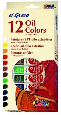 Комплект маслени бои elGreco, 12 ml, 12 цвята
