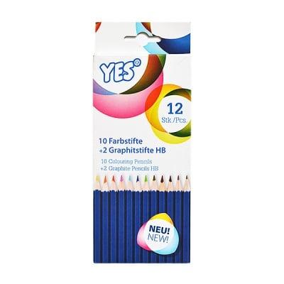 """Комплект моливи  CretaColor, """"YES"""", 10 color + 2 HB, 12 бр."""