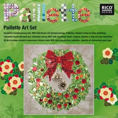 """Комплект мозайка с пайети RicoDesign, """"Коледен венец"""", 30.5 x 30.5 cm"""