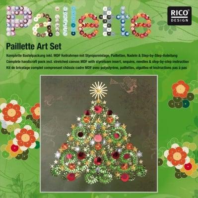 """Комплект мозайка с пайети RicoDesign, """"Коледно дърво"""", 30.5 x 30.5 cm"""