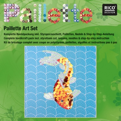 "Комплект мозайка с пайети RicoDesign, ""Златна рибка"", 30.5 x 30.5 cm"