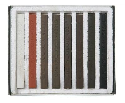 Комплект пастели CretaColor, BROWN CHALKS, 8 бр., кафяви