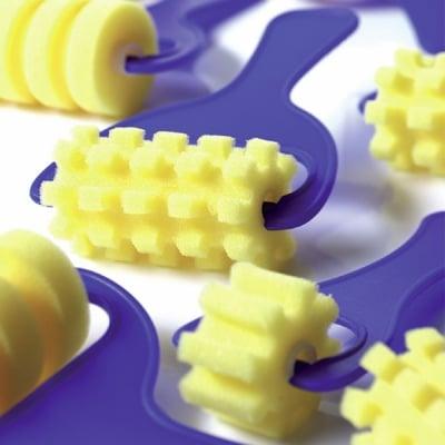 Комплект валячета за боя CREALL, 3 части, 7 cm, растерни