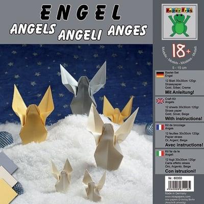Комплект за оригами, Engel, 30 x 30 cm, 12 л.,120 g, крем