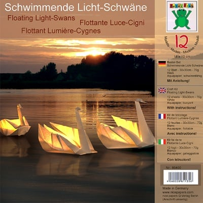 Комплект за оригами, schwimmende Licht-Schwane, 30x30 cm, 12 л