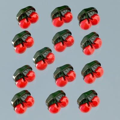 Копчета, черешки, 15 x 15 mm, 13бр., червени/зелени