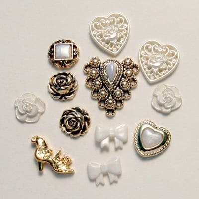 Копчета, дантелени съкровища, 12бр. бял/златист