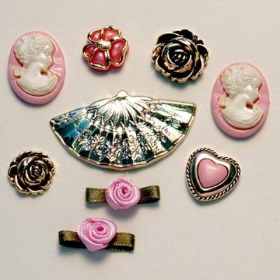 Копчета, от минали времена, 9бр., розов/златист