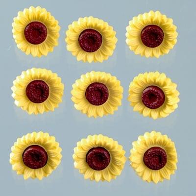 Копчета, слънчоглед, 19 x 19 mm, 9бр.жълто/кафяво