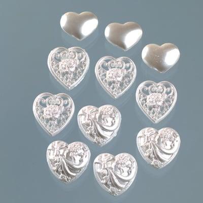 Копчета, викториански сърца, 11бр., бисерни