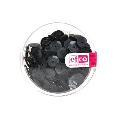 Кръгли пайети, релефни, ф 6 mm, ~ 500 бр., черни