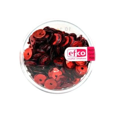 Кръгли пайети, релефни, ф 6 mm, ~ 500 бр., червени