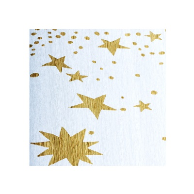 Креп-хартия, 35 g/m2, 50 x 250 cm, 1 ролка, бяло на златни звездици