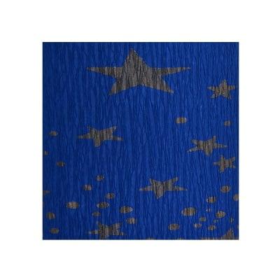 Креп-хартия, 35 g/m2, 50 x 250 cm, 1 ролка, синьо на златни звездици