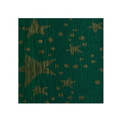 Креп-хартия, 35 g/m2, 50 x 250 cm, 1 ролка, зелено на златни звездици