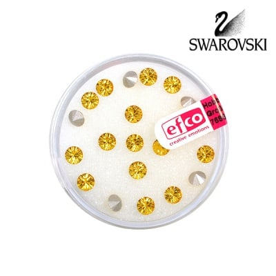 Кристали Swarovski Chatons, ф 4 mm, 20 бр., светъл топаз