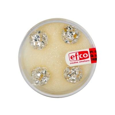 Кристална топка с отвор, 10 mm, 4 бр., кристал / сребро