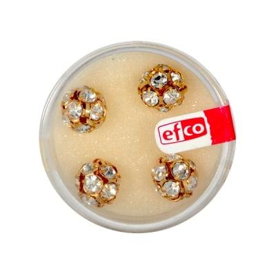 Кристална топка с отвор, 10 mm, 4 бр., кристал / злато