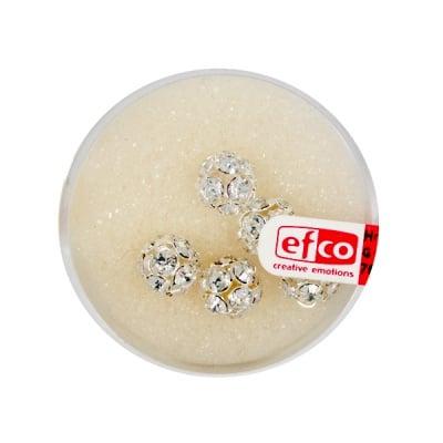 Кристална топка с отвор, 8 mm, 5 бр., кристал / сребро