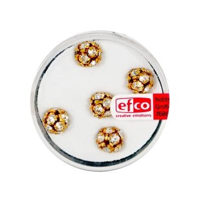 Кристална топка с отвор, 8 mm, 5 бр., кристал / злато