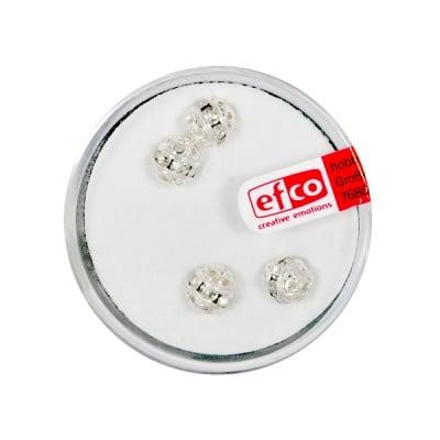 Кристални перли филигран, 6 mm, 4 бр., кристал / сребро