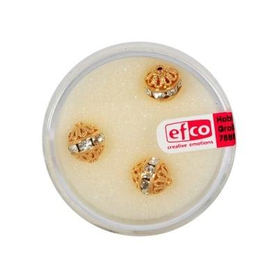Кристални перли филигран, 8 mm, 3 бр., кристал / злато