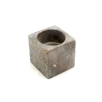 Кубче свещник, 7х7 cm, сапунен камък, зелен