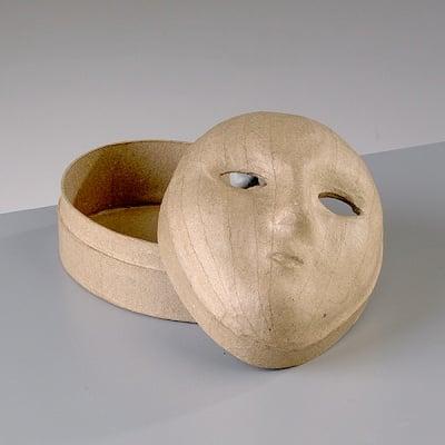 Кутия от папие маше, маска лице, средна, 15 x 11 x 8,5 cm