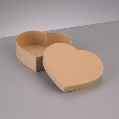 Кутия от папие маше във формата на сърце, 8,5 x 7,5 x H 5 cm