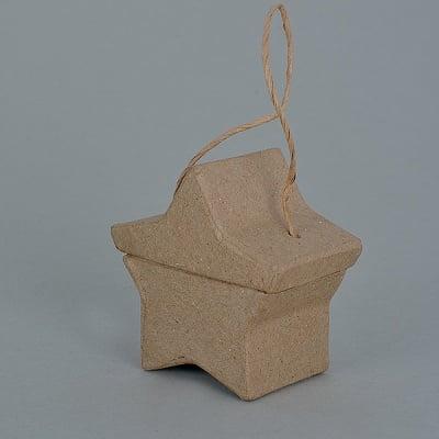 Кутия от папие маше, звезда, 6,5 x 6,5 x 3,5 cm, 1 бр.