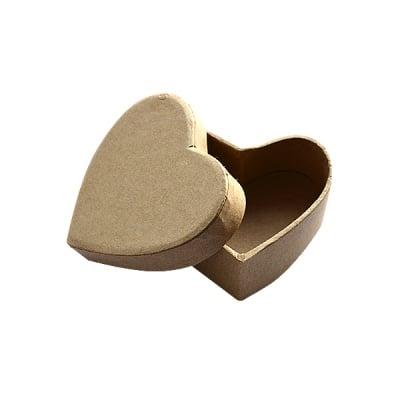 Кутия сърце от папие маше Box Herz, 6,5 x 6 x H 2,7 cm
