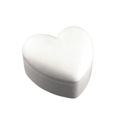 Кутия сърце от стиропор, бял, 140 x 140 mm