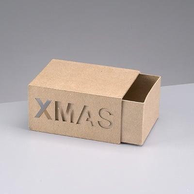 Кутия Xmas от папие маше, 16,5 x 12,5 x 8,5 cm