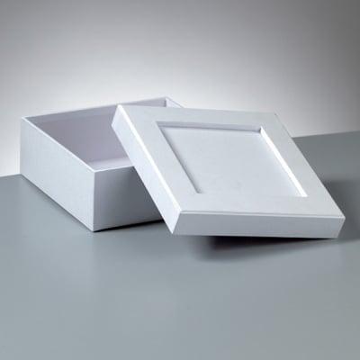 Кутия за декорация от картон, Mosaix, квадрат, 15 x 15 x 6 cm, бяла