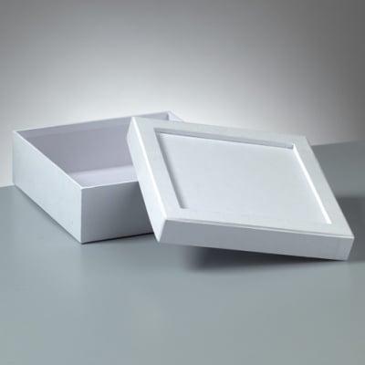 Кутия за декорация от картон Mosaix, квадрат, 17 x 17 x 6 cm, бяла